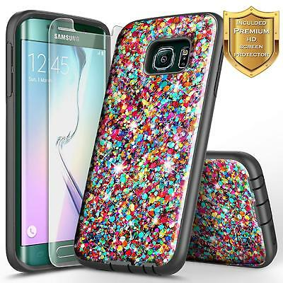 Samsung Galaxy S6 Edge | Glitter Bling Slim Hybrid Case Cover + Screen Protector
