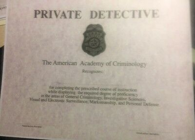 PRIVATE DETECTIVE Certificate, Comes Blank Fill In Your Own Information