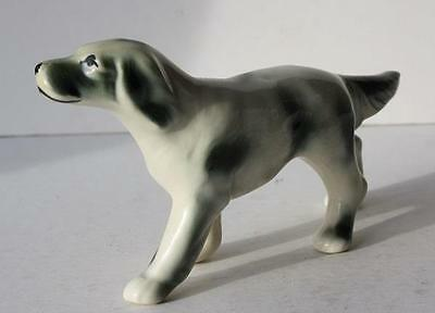 Pointer Dog White & Black Ceramic-Porcelain Figurine-Statue-Hand Painted Vintage
