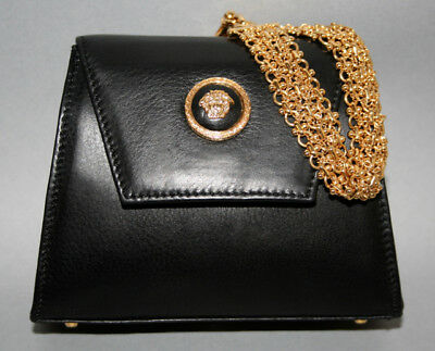 5f099a1020d0 Vntg GIANNI VERSACE Couture Black Leather w Medusa Head Chain Strap Hand Bag  -Sm