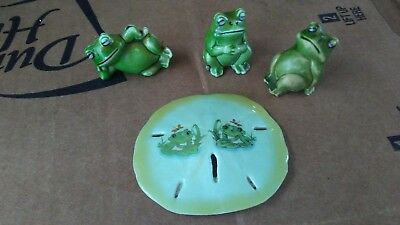 Three Vintage Mini Plastic Frog Figurines Made in Hong Kong authentic sanddollar