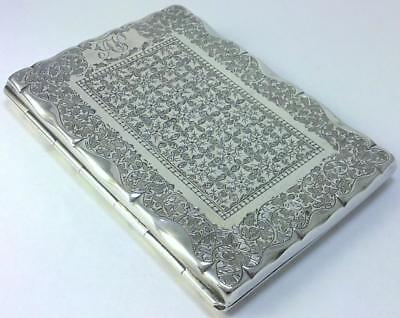 Victorian hallmarked Sterling Silver Silk-lined Card Case – 1890