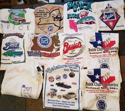 Lot of vintage of 11 Buick T-Shirts Polo National Regional Meets 80's & 90's