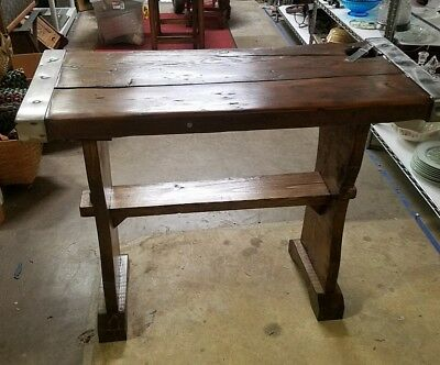 Antique WWII U.S. Navy Liberty Ship Wooden Hatch Door Cover Table, Trestle Stand