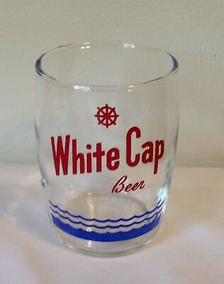 Vintage White Cap Beer Glass Two Rivers Wisconsin Beer Glass SUPER RARE!