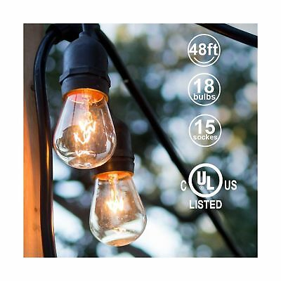 48ft Outdoor String Lights Commercial Great Weatherproof Strand 18 Dimmable