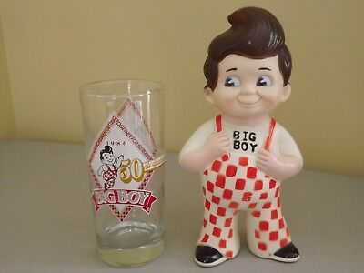 1973 Big Boy Restaurants Bank 9 in. & 1986 Big Boy 50th Anniversary Glass