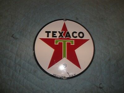 "Original 8"" Round Porcelain Texaco Sign Gas Pump Lubester Service Station Truck"
