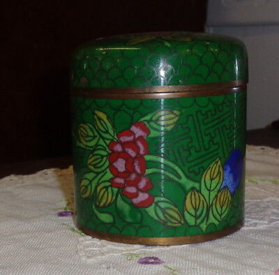 Vintage Cloisonne Tea Caddy marked China