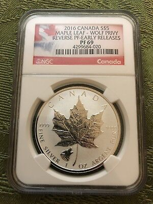 2016 Canada $5 1 Oz Silver Maple Leaf Wolf Privy Ngc Pf69 Reverse Proof Early Re