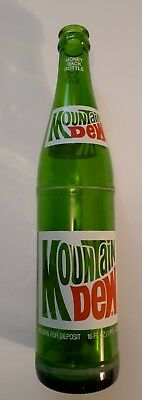 "Rare American ""mountain Dew"" 1 Pint/16 Oz Green Glass Bottle-Red/white Acl"