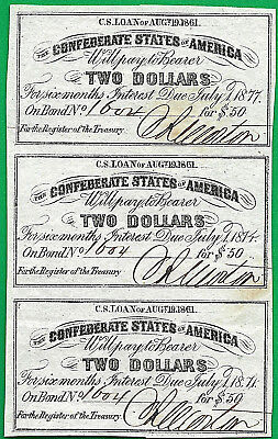 The Confederate States Of America $50.00 Bond C.s Loan Aug.19.1861