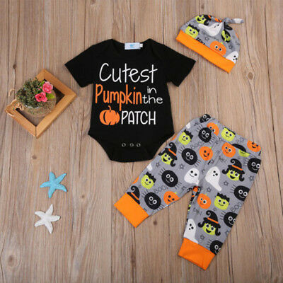 Newborn Baby Girl Boy Kid Romper Jumpsuit+Long Pants+Hat Pumpkin Clothes Sets