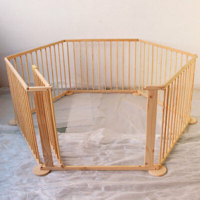 6 Sides Wooden Kids Baby Child Children PlayPen Play Pen Foldable Room Divider A