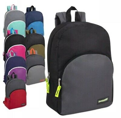 fbe33eca1a62 Lot of 24 Wholesale 15 Inch Basic Backpacks in 12 Assorted Solid Colors  Knapsack