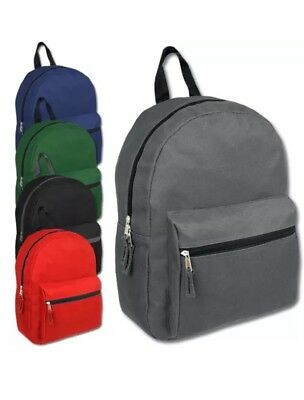 Lot of 24 Wholesale 15 Inch Basic Backpacks in 5 Assorted Solid Colors  Knapsacks 3ee5bf4384966