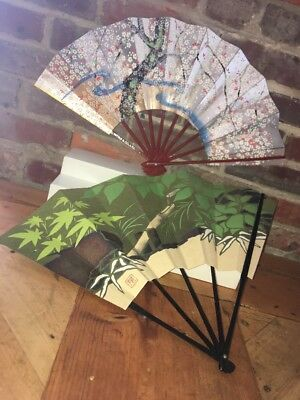 SUPER RARE HAND FAN Lot JAPAN Mitsui Co. Paper Lacquer Wood Handle New