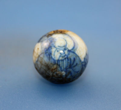 20*18 mm Antique Dzi Hand painted porcelain old Bead from Tibet Free shipping