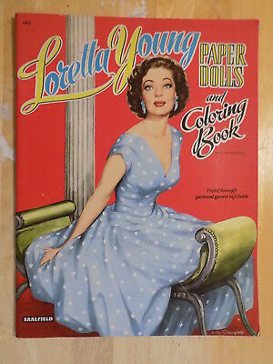 1956 Loretta Young Paper Dolls and Coloring Book Unpunched Saalfield