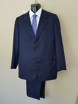BRIONI Navy Suit 42 R Model Augusto Wool 3 Button, Windowpane