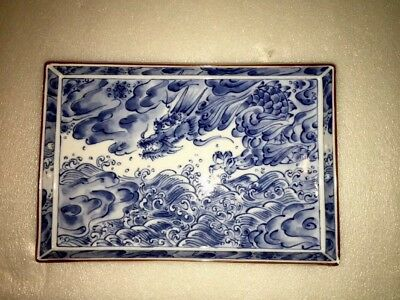 Fitz Floyd Fine Japanese Porcelain Scenic Tray w/ Blue Dragon And Stormy Sea