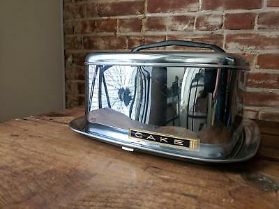 Vintage Lincoln Beautyware Square Chrome Cake Carrier with Black Handle GUC