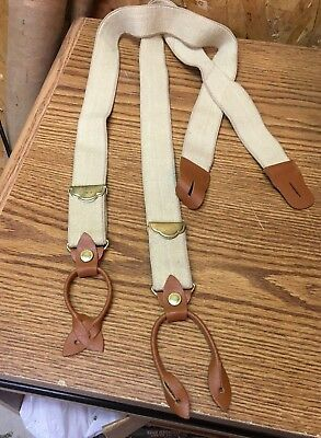 Vintage Tan Stretch Suspenders Brass Adjuster Dress Blues Leather Button Attch