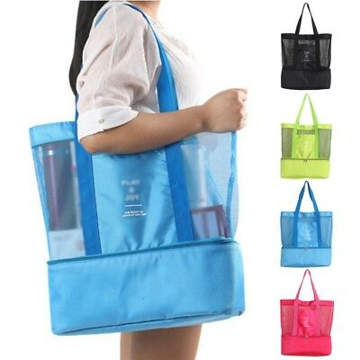 Large Handheld Lunch Bag Double Layer Thermal Insulated Picnic Tote Storage Bag