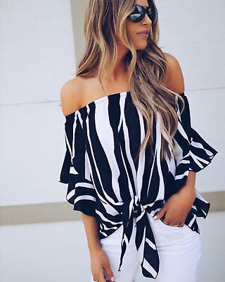 Women Summer Bandeau Beach Casual Loose Ladies Off Shoulder Stripe Tops  T Shirt
