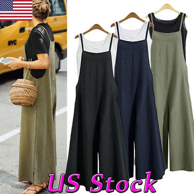 US Women's Cotton Linen Sleeveless Wide leg Pant Loose Jumpsuit Overall Trousers