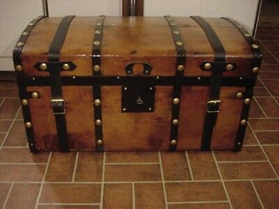Ladycomet Refinished Jenny Lind Steamer Trunk Antique Chest w/Straps, Key, Tray