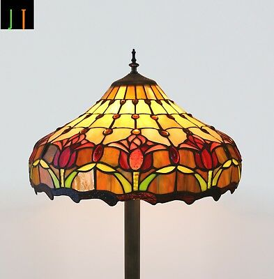 Free Postage Floor Lamp Tiffany Tulip Art Deco Stained Glass Leadlight