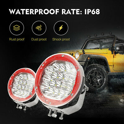 7inch Cree Round LED Driving Lights SPOT FLOOD Spotlights Offroad Work W/ Mask