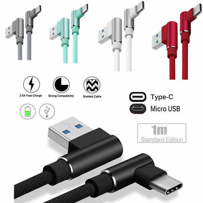1M L shape Type C Micro USB Fast Data Charger Cable For Samsung LG iPhone Apple