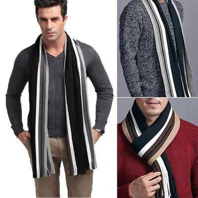 Fashion Men's Winter Warm 100% Cashmere Scarf Tweed Stripe  Wrap Warm Winter Hot