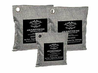 3 Pack - Activated Nano Bamboo Charcoal Bag( 2x 500g,1x 200g )100% Natural Odor
