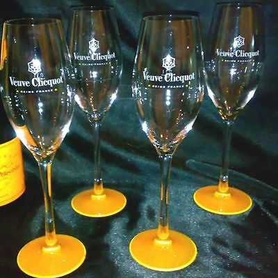 Veuve Clicquot Ponsardin Champagne Flute Orange Base X 4  New