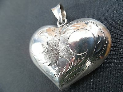 Mexican Sterling Silver 925 Pendant Hand Chased Puffy Heart