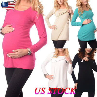 US Women Pregnant Maternity Clothes Long Sleeve Tops T-Shirt Blouse Casual Plain
