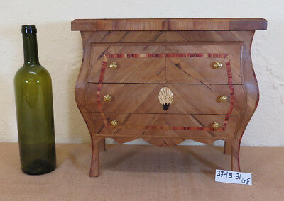 Antique Dresser In Miniature Furniture Style Louis Xv Wood Olive Inlaid Gf