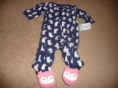 a88447b8709e NWT CARTERS BABY Girl Clothes 3 month One Piece Fleece Owl Footie ...