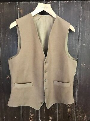 VINTAGE BROWN MENS 2 POCKET DOESKIN WAISTCOAT. Small Defects shown in pictures