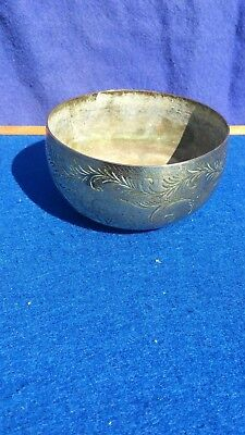 Antique south east Asian? Engraved brass bowl with peculiar base(ceremonial ??)