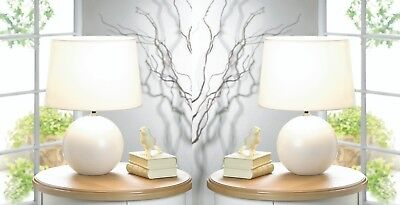 Set of 2 Classic White Round Ceramic Base Table Lamps with Matching Fabric Shade