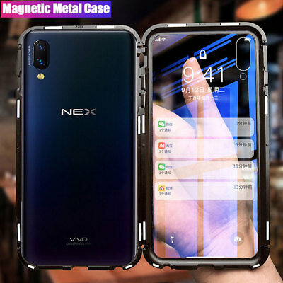 360 Magnetic Adsorption Metal Bumper Case for VIVO NEX/X21 Tempered Glass Cover