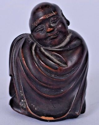 charming 19th c chinese carved hardwood buddha figurine statue carving japanese