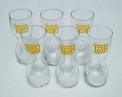 6 Tab Hourglass shaped Drinking Glasses by Coca Cola Coke 1970s Vintage