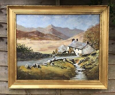 Very Large Oil On Board Painting In Gold Gilt Frame
