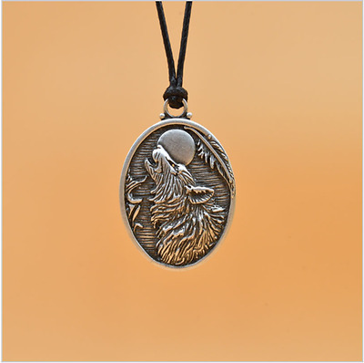 Howling Wolf and Full Moon large oval silver pendant on black cord pagan viking