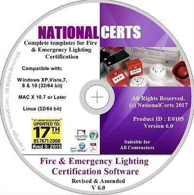 FIRE ALARM & EMERGENCY LIGHTING CERTIFICATES/FORMS SOFTWARE Genuine Product